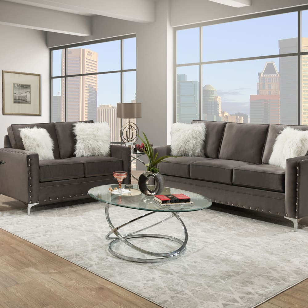 Adrian Grey 2PC Sofa & Loveseat Set