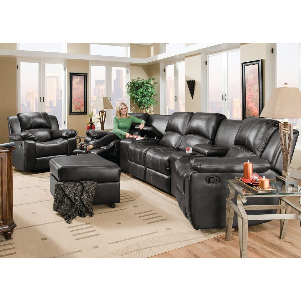 Flick Home Theater - 2 Recliners, 2 Consoles & Reclining Loveseat - Black - 98204