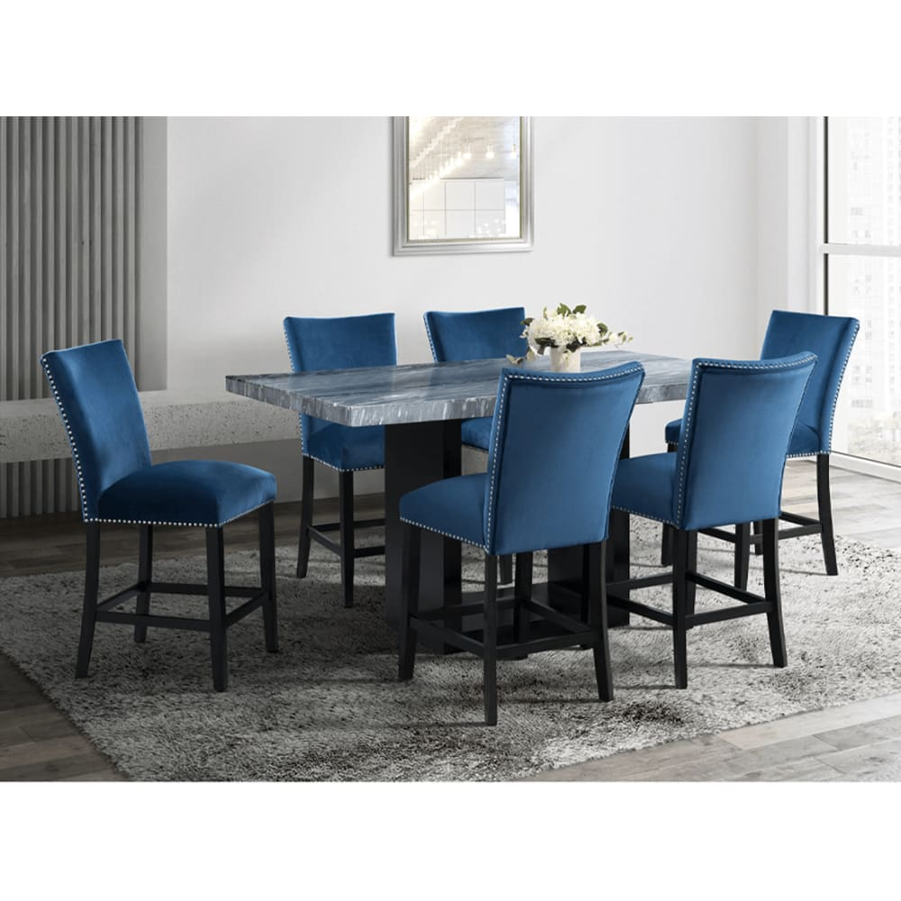 Milan Collection Blue Velvet 5pc Dining Collection