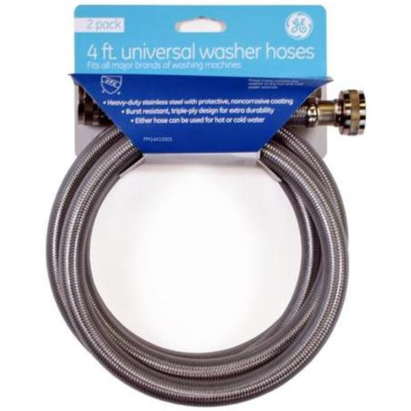 GE® Washer Hose - Burst Resistant - Stainless Steel  (PM14X10005)