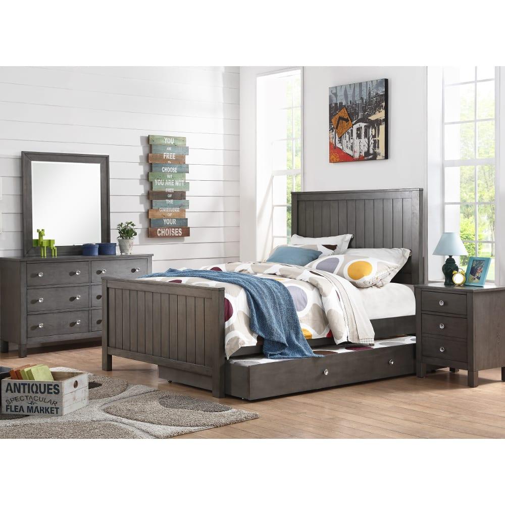 Quiz Grey Bedroom - Bed, Dresser & Mirror - Full - 33576
