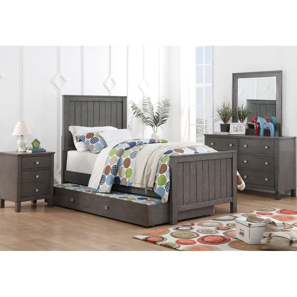 Quiz Grey Bedroom - Bed, Dresser & Mirror - Twin - 33574