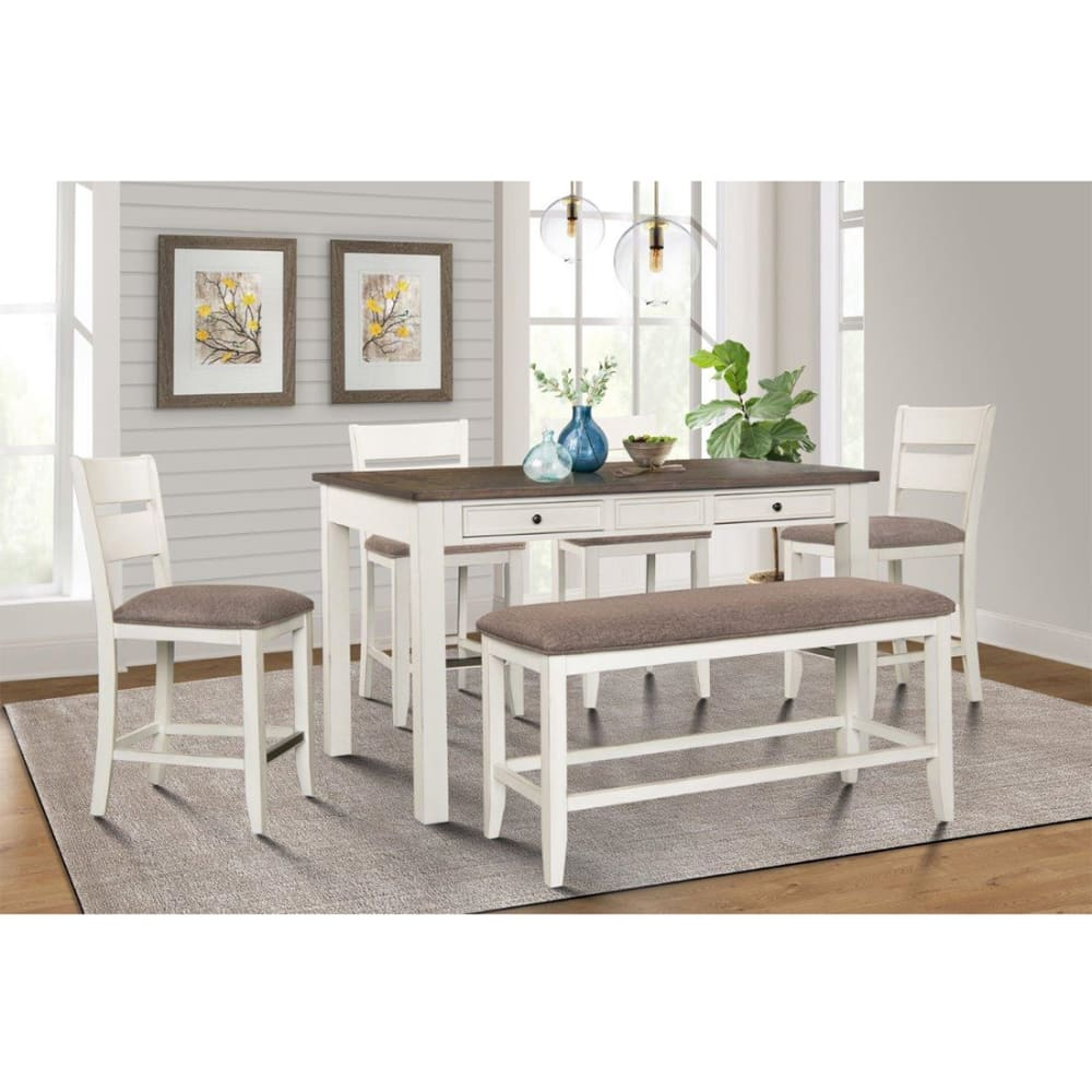 Seabreeze Counter Dining 6-pc Dining (Table, 4 chairs & bench) - SEABREEZEDR